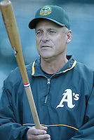 Oakland Athletics Manager Art Howe before a 2002 MLB season game against the Los Angeles Angels at Angel Stadium, in Anaheim, California. (Larry Goren/Four Seam Images)