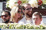 Real Madrid Basketball player Sergio Rodriguez with his wife (t) and Real Madrid Football player Toni Kroos during Madrid Open Tennis 2015 match.May, 7, 2015.(ALTERPHOTOS/Acero)