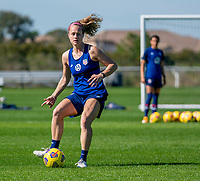 ORLANDO, FL - JANUARY 20: Jaelin Howell #26 of the USWNT passes the ball during a training session at the practice fields on January 20, 2021 in Orlando, Florida.