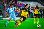 09.08.2019, Merkur Spiel-Arena, Düsseldorf, GER, DFB Pokal, 1. Hauptrunde, KFC Uerdingen vs Borussia Dortmund , DFB REGULATIONS PROHIBIT ANY USE OF PHOTOGRAPHS AS IMAGE SEQUENCES AND/OR QUASI-VIDEO<br /> <br /> im Bild | picture shows:<br /> Nico Schulz (Borussia Dortmund #14) trennt den Ball fair von Hakim Guenouche (KFC Uerdingen #12), <br /> <br /> Foto © nordphoto / Rauch