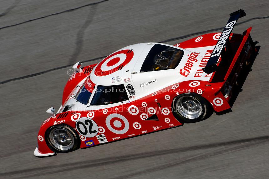 (L to R): Eventual winner #02 Lexus/Riley of Dan Wheldon, Scott Dixon and Casey Mears.