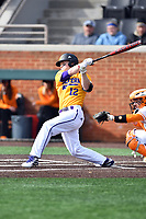 Luke Schwartz (12) of the Western Illinois Leathernecks swings at a pitch during a game against the Tennessee Volunteers at Lindsey Nelson Stadium on February 15, 2020 in Knoxville, Tennessee. The Volunteers defeated Leathernecks 19-0. (Tony Farlow/Four Seam Images)