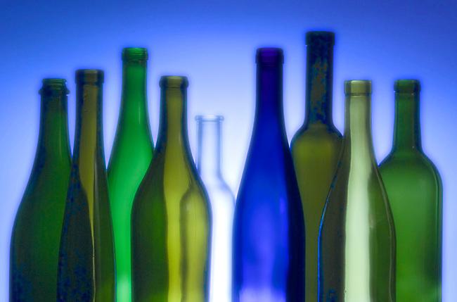 Various styles of wine bottles, depending on type of wine