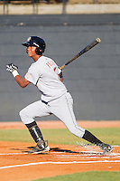 Pedro Feliz #7 of the Greeneville Astros follows through on his swing against the Bristol White Sox at Boyce Cox Field July 1, 2010, in Bristol, Tennessee.  Photo by Brian Westerholt / Four Seam Images