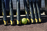 DURHAM, NC - FEBRUARY 29: An NCAA softball amid a collection of softball bats during a game between Notre Dame and Duke at Duke Softball Stadium on February 29, 2020 in Durham, North Carolina.