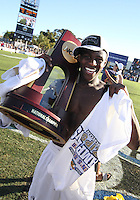 Kofi Sarkodie #8, Anthony Ampaipaitakwong #10 and Darren Mattocks #11of the University of Akron after the 2010 College Cup final against the University of Louisville at Harder Stadium, on December 12 2010, in Santa Barbara, California.Akron champions, 1-0.