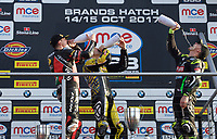 Winner Josh Brookes of Anvil Hire Tag Racing on the podium with second place Jason O'Halloran of Honda Racing (Left) and Third place James Ellison of McAMS Yamaha (Right) after the Final of the MCE British Superbikes in Association with Pirelli round 12 2017 - BRANDS HATCH (GP) at Brands Hatch, Longfield, England on 15 October 2017. Photo by Alan  Stanford / PRiME Media Images.