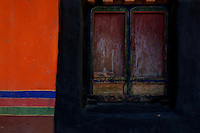 Graphic close up and details of Tibetan Monastery architecture, Tibet.