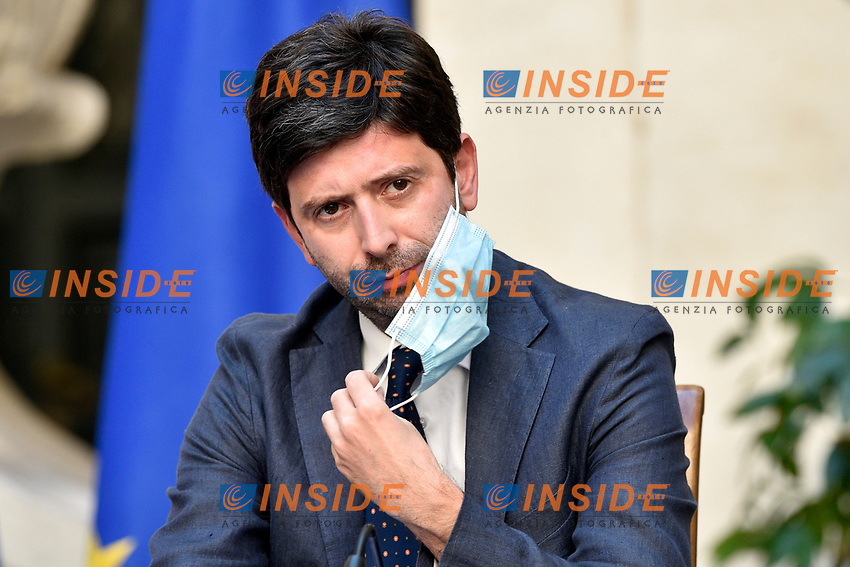 The Minister of Health Roberto Speranza wears a face mask during the press conference at Palazzo Chigi, about the measures to contrast the Covid-19 pandemic at the reopening of the schools on September 14th.<br /> Rome (Italy), September 9th 2020<br /> Photo Pool Paolo Tre Insidefoto