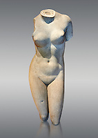 2nd century Roman marble torso copy of the statue of Aphrodite of Cnidus by Praixitele. Many Roman replicas exist of the Aphrodite of Cnidus which is one of the most famous statues of antiquity. The statue depicts the goddess bathing with a vase of water beside her. The lost original is a Hellenistic Greek sculpture made in 360-350 BC which is attributed to Athenian sculpture Praxiteles. Tradition has it that the model for the original was the lover of sculptor Phryne. The original is the oldest known female nude in Greek sculpture.  Inv Ma 2184 Louvre Museum, Paris.