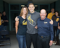 BERKELEY, CA - Feb. 18, 2017: Cal's Hunter Cobleigh with his parents on Senior Day.  Cal Men's Swimming and Diving competed against Stanford at Spieker Aquatics Complex.