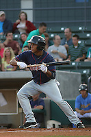Karexon Sanchez #23 of the Kinston Indians at bat during a game against the Myrtle Beach Pelicans on May 12, 2010 in Myrtle Beach, SC.
