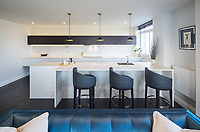 BNPS.co.uk (01202 558833)<br /> Picture: Savills/BNPS<br /> <br /> Pictured: The kitchen.<br /> <br /> HOWZAT for a view?<br /> <br /> A luxury flat that has grandstand views of Lords cricket ground has gone on the market for £2.72m.<br /> <br /> The two-bed apartment is on the 11th floor of a building next to the 'home of cricket'.<br /> <br /> From the balcony, there are uninterrupted views of the cricket pitch.