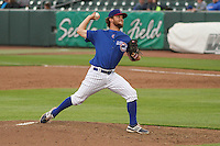 Iowa Cubs pitcher Michael Wagner (33) delivers a pitch during a Pacific Coast League game against the Colorado Springs Sky Sox on May 10th, 2015 at Principal Park in Des Moines, Iowa.  Iowa defeated Colorado Springs 14-2.  (Brad Krause/Four Seam Images)