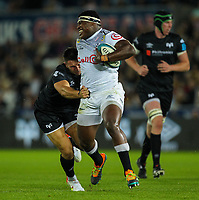8th October 2021;  Swansea.com Stadium, Swansea, Wales; United Rugby Championship, Ospreys versus Sharks; Ntuthuko Mchunu of Cell C Sharks is tackled by Owen Watkin of Ospreys