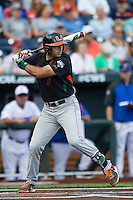 Miami Hurricanes second baseman George Iskenderian (7) at bat against the Florida Gators in the NCAA College World Series on June 13, 2015 at TD Ameritrade Park in Omaha, Nebraska. Florida defeated Miami 15-3. (Andrew Woolley/Four Seam Images)