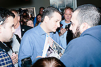 Texas senator and Republican presidential candidate Ted Cruz greets people after speaking at a town hall at Crossing Life Church in Windham, New Hampshire, on Tues. Feb. 2, 2016. The day before, Cruz won the Iowa caucus.