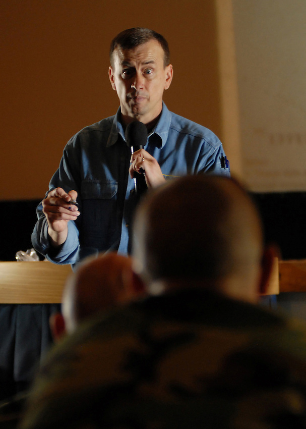"""071022-N-7981E-155 NAVAL AMPHIBIOUS BASE CORONADO (October 22, 2007)- Lt. Col. Dave Grossman (U.S. Army Retired), director of the Killology research group and author of the Pulitzer Prize-winning book """"On Killing: The Psychological Cost of Learning to Kill in War and Society"""" delivers his acclaimed """"Bulletproof Mind"""" lecture to Special Warfare Operators, Explosive Ordinance Disposal, and other special operations personnel at the Naval Amphibious Base Coronado theatre. During the six-hour lecture, Grossman discussed a broad range of issues faced by the """"warrior"""" community and the importance of overcoming them in the face of an increasingly violent society. Grossman, a former Army Ranger and West Point psychology professor, is considered one of the world's foremost experts in the field of human aggression and the roots of violence and violent crime."""