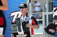 Sept. 22, 2012; Ennis, TX, USA: NHRA funny car shootout driver Mike Neff during qualifying for the Fall Nationals at the Texas Motorplex. Mandatory Credit: Mark J. Rebilas-