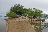 Pará State, Brazil. Xingu River; sandspit island campsite.