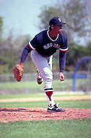Boston Red Sox minor league pitcher Paul Brown during spring training circa 1991 at Chain of Lakes Park in Winter Haven, Florida.  (MJA/Four Seam Images)
