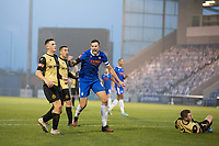 Harry Pell, Colchester United celebrates firing home the equaliser during Colchester United vs Marine, Emirates FA Cup Football at the JobServe Community Stadium on 7th November 2020