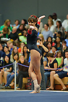 LOS ANGELES, CA - February 5, 2012:  Stanford's Rebecca Wing during competition against the UCLA Bruins at the Wooden Center.   UCLA defeated Stanford, 197.250 - 196.450.