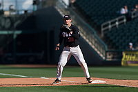 Oregon State Beavers catcher Adley Rutschman (35) prepares to catch the final out of a game against the Gonzaga Bulldogs on February 16, 2019 at Surprise Stadium in Surprise, Arizona. Oregon State defeated Gonzaga 9-3. (Zachary Lucy/Four Seam Images via AP)