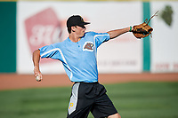 West Virginia Black Bears pitcher Nick Mears (38) warms up before a game against the State College Spikes on August 30, 2018 at Medlar Field at Lubrano Park in State College, Pennsylvania.  West Virginia defeated State College 5-3.  (Mike Janes/Four Seam Images)