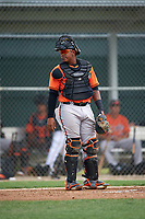 Baltimore Orioles Jean Carrillo (95) during a minor league Spring Training intrasquad game on April 2, 2016 at Buck O'Neil Complex in Sarasota, Florida.  (Mike Janes/Four Seam Images)