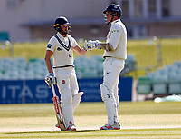 Ollie Robinson (L) and Fred Klaassen of Kent during Kent CCC vs Lancashire CCC, LV Insurance County Championship Group 3 Cricket at The Spitfire Ground on 25th April 2021