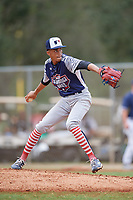 Tyler Roche (19) during the WWBA World Championship at the Roger Dean Complex on October 11, 2019 in Jupiter, Florida.  Tyler Roche attends Cardinal Hayes High School in Bronx, NY and is committed to St. John's.  (Mike Janes/Four Seam Images)