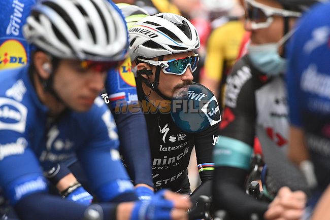 World Champion Julian Alaphilippe (FRA) Deceuninck-Quick Step before the start of Stage 2 of Tirreno-Adriatico Eolo 2021, running 202km from Camaiore to Chiusdino, Italy. 11th March 2021. <br /> Photo: LaPresse/Marco Alpozzi   Cyclefile<br /> <br /> All photos usage must carry mandatory copyright credit (© Cyclefile   LaPresse/Marco Alpozzi)