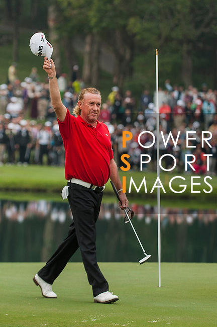 Miguel Angel Jimenez of Spain celebrates after winning the UBS Hong Kong Open Championship at the Hong Kong Golf Club on 18 November 2012, in Fanling. Photo by Victor Fraile / The Power of Sport Images