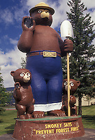 "AJ2876, Smokey the Bear, Smokey, Minnesota, Statue of Smokey the Bear and Friends """"Prevent Forest Fires"""" in Smokey Bear Park in International Falls in the state of Minnesota."