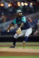 Lynchburg Hillcats relief pitcher Serafino Brito (37) in action against the Kannapolis Cannon Ballers at Atrium Health Ballpark on August 28, 2021 in Kannapolis, North Carolina. (Brian Westerholt/Four Seam Images)