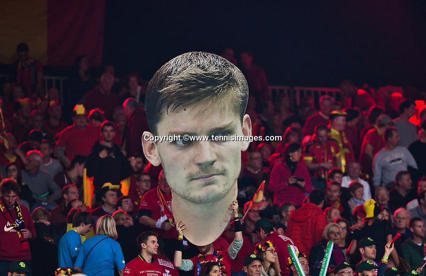 Gent, Belgium, November 27, 2015, Davis Cup Final, Belgium-Great Britain, Belgian fans display a giant poster of David Goffin<br /> Photo: Tennisimages/Henk Koster