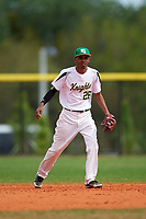 Community College of Rhode Island Knights shortstop Robert Paulino (26) during a game against the Genesee Community College Cougars on March 20, 2016 at Lake Myrtle Park in Auburndale, Florida.  CCRI defeated Genesee 23-4.  (Mike Janes/Four Seam Images)
