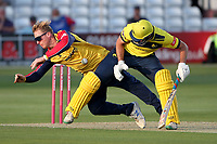 Simon Harmer of Essex tangles with James Fuller as he fields the ball during Essex Eagles vs Hampshire Hawks, Vitality Blast T20 Cricket at The Cloudfm County Ground on 11th June 2021