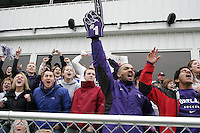 Portland fans celebrate as the final seconds of the game are counted down over the public address speakers. The University of Portland Pilots defeated the UCLA Bruins 4-0 to win the NCAA Division I Women's Soccer Championship game at Aggie Soccer Stadium in College Station, TX, Sunday, December 4, 2005.