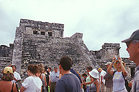 Tourists visiting the Mayan ruins of Tulum<br />