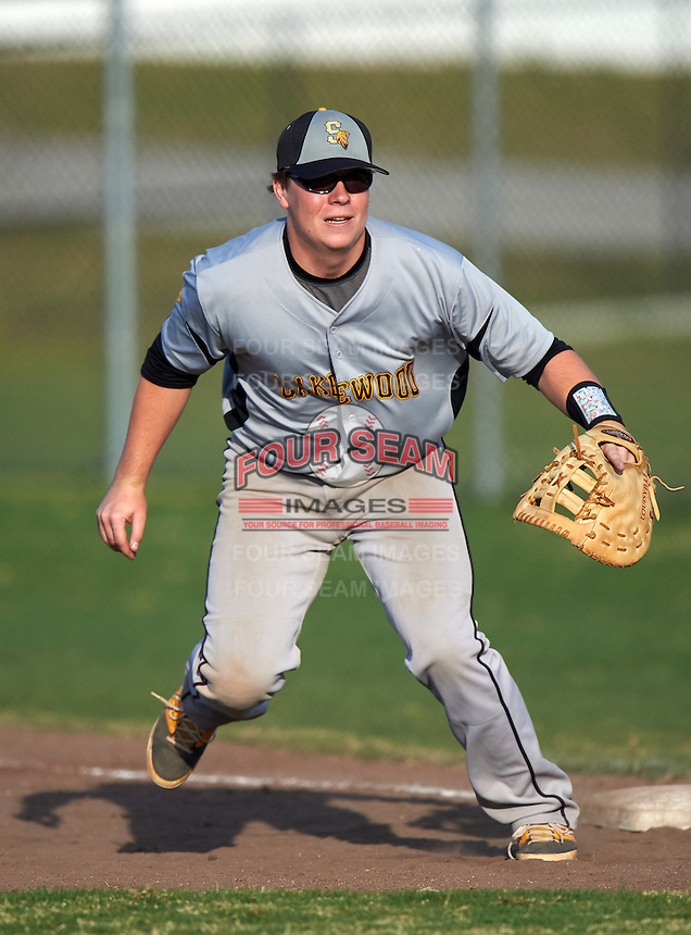 Lakewood Spartans first baseman Sonny Neuman (20) during a game against the Boca Ciega Pirates at Boca Ciega High School on March 2, 2016 in St. Petersburg, Florida.  Boca Ciega defeated Lakewood 2-1.  (Mike Janes/Four Seam Images)