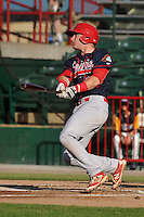 Peoria Chiefs Brian O'Keefe (32) swings during the Midwest League game against the Burlington Bees at Community Field on June 8, 2016 in Burlington, Iowa.  Burlington won 4-2.  (Dennis Hubbard/Four Seam Images)