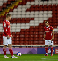 21st November 2020, Oakwell Stadium, Barnsley, Yorkshire, England; English Football League Championship Football, Barnsley FC versus Nottingham Forest; Herbie Kane of Barnsley  lines up a direct free kick shot