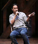 """Lin-Manuel Miranda making a surprise appearance during a Q & A before The Rockefeller Foundation and The Gilder Lehrman Institute of American History sponsored High School student #EduHam matinee performance of """"Hamilton"""" at the Richard Rodgers Theatre on 3/20/2019 in New York City."""