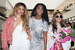 (L to R) Dina-Jane Hansen, Normani Hamilton and Ally Brooke, members of the American five-piece girl group Fifth Harmony, pose for the cameras upon their arrival at Narita International Airport on July 7, 2016, Chiba, Japan. Fifth Harmony are in Japan for the first time to promote their new song Work from Home. Fifth Harmony flew 25 hours from Sau Paulo to Japan after finishing their tour of South America. (Photo by Rodrigo Reyes Marin/AFLO)