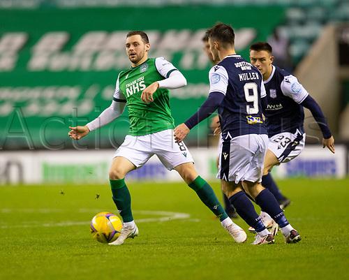 15th November 2020; Easter Road, Edinburgh, Scotland; Scottish League Cup Football, Hibernian versus Dundee FC; Drey Wright of Hibernian takes on Jordan Marshall and Danny Mullen of Dundee