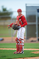 GCL Nationals catcher Joey Harris (4) during a game against the GCL Astros on August 14, 2016 at the Carl Barger Baseball Complex in Viera, Florida.  GCL Nationals defeated GCL Astros 8-6.  (Mike Janes/Four Seam Images)