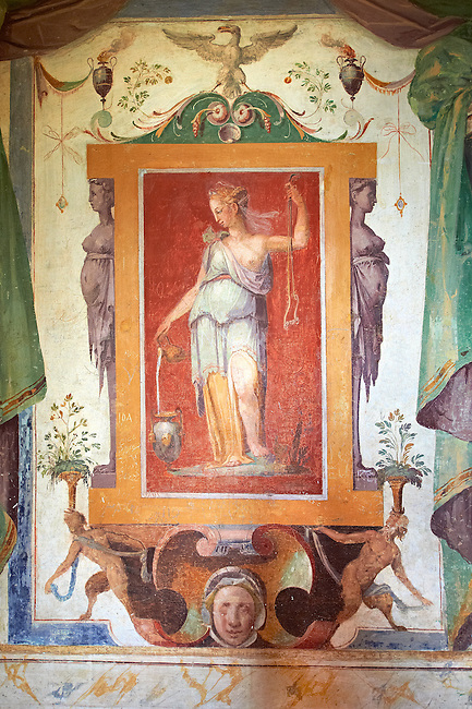 Room of Glory (Stanza della Gloria ). The Renaissance paintings by Federico Zuccari can be dated to 1566-68. . Villa d'Este, Tivoli, Italy. A UNESCO World Heritage Site.