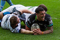 Sunday 26 February 2017<br /> Pictured:  Ospreys centre Josh Matavesi runs in the Ospreys second try<br /> RE: Guinness Pro12 Ospreys v Glasgow at the the Liberty Stadium, Swansea, Wales, UK